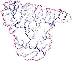 Схема рек и временных водотоков Воронежской области